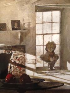 "A detail of ""Big Room,"" 1988 where windows play a pivotal role in the watercolor's overall aesthetic."