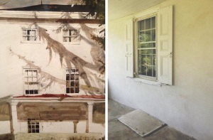 "Here is a comparison of the porch window, at the bottom left of Andrew's watercolor, ""Tree House"" Study, 1982 (on  the left) and my photo of the same porch window in real life (to the right)."